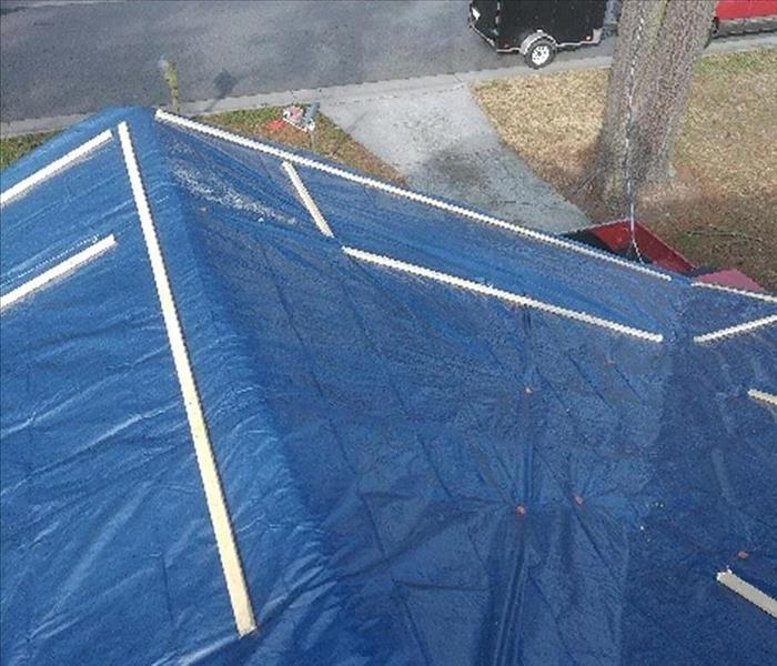 Roof Tarp after Storm Damage