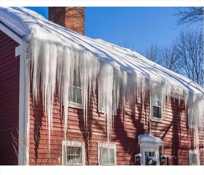 ice hanging from home